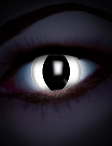 Kontaktlinsen Phantasie UV weiß Auge Reptil Erwachsene