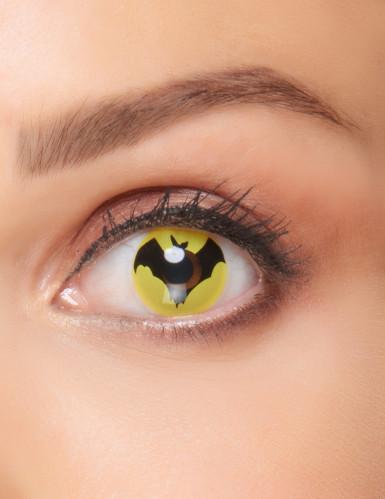 Fledermaus-Kontaktlinsen Superheld schwarz-gelb