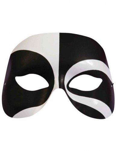 Harlekin-Augenmaske schwarz-weiss für Erwachsene