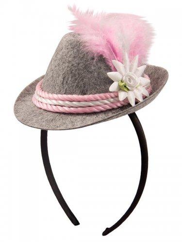 Bayrischer Mini-Hut grau und rosa Damen