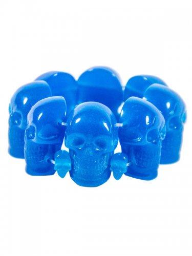 Gothic-Armreif mit Totenköpfen Halloween-Accessoire blau