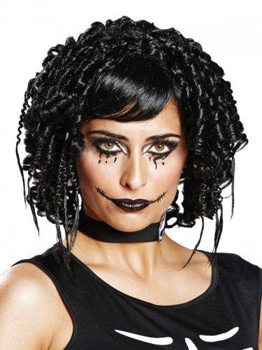 Schwarze Gothic-Perücke für Damen in schwarz