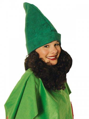 Zwergenmütze mit Bart für Erwachsene grün-braun