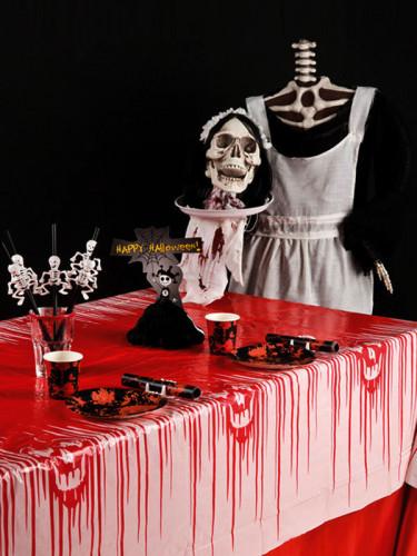 Blutige Tischdecke mit Totenköpfen weiß-rot 180x130cm