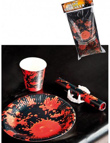 Halloween tischdeko set schwarz rot partydeko und for Tischdeko rot schwarz