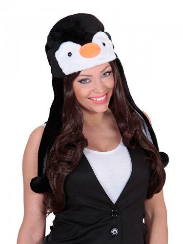 Pinguin Hut Plüsch schwarz-weiß