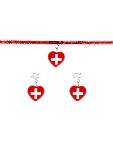 Krankenschwester Accessoire-Set Schmuck rot-weiß