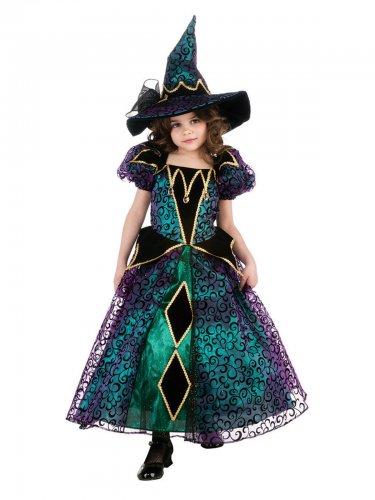 Süßes Hexenkostüm für Mädchen in grün-schwarz