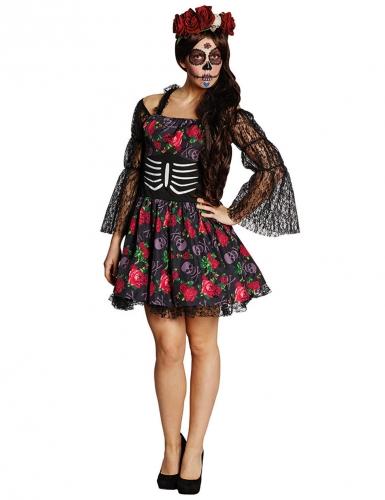 Tag der Toten Skelett Halloween Damenkostüm