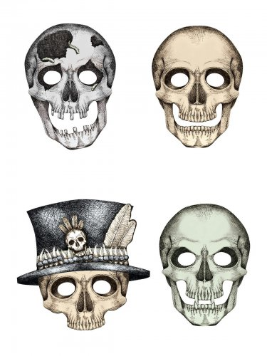 4 Totenkopf Masken schwarz-weiß