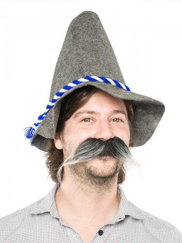 Langer grauer und weißer Schnurrbart
