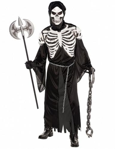 Schauriges Skelettkostüm Herren schwarz-weiss