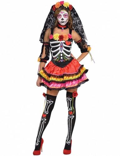 Buntes Skelett Kostüm Dia de los muertos Damen