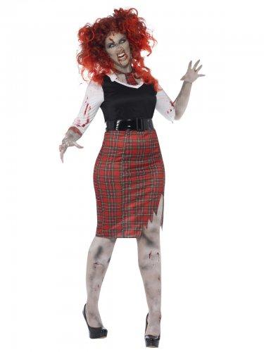 Zombie Schulmädchen für Damen Halloween Übergröße schwarz-rot-weiss