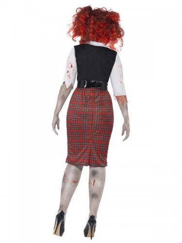 Zombie Schulmädchen für Damen Halloween Übergröße schwarz-rot-weiss-1