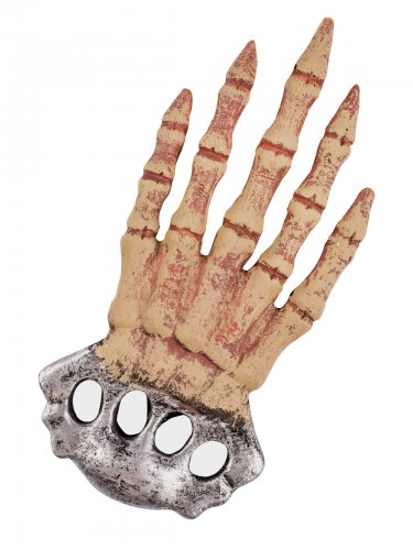 Schlagring-Attrappe Skeletthand Halloween Accessoire beige