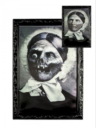 Gruselige Großmutter Skelett Hologramm 28x22cm