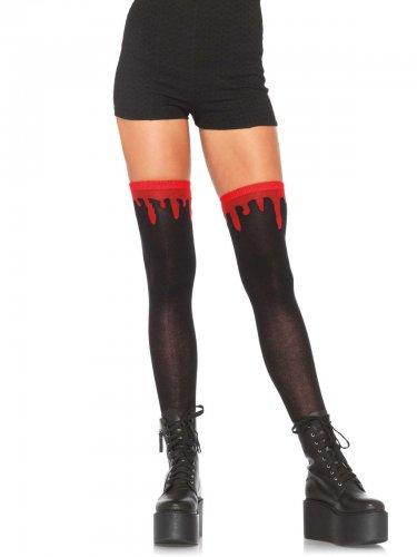 Schwarze Damenstrümpfe mit Blutspuren