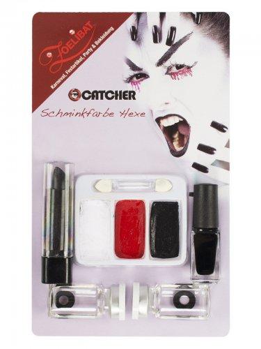 Schmink-Set Hexe mit Kontaktlinsen Erwachsene rot-schwarz-weiß