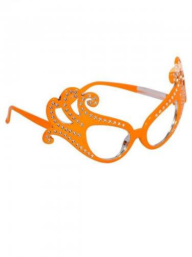 Stilvolle Karnevals-Brille Partyzubehör mit Strass orange