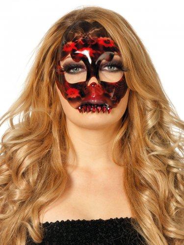 Maske schwarz und rot Spitze Skelett Damen Halloween