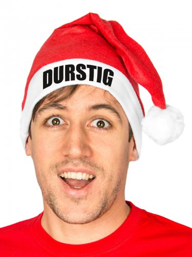 Humorvolle Weihnachtsmann-Mütze DURSTIG für Erwachsene rot-weiss