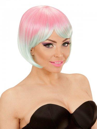 Pastellfarbene kurze Perücke mit Pony für Damen rosa mint
