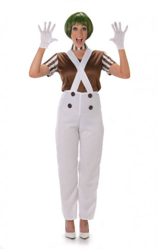 Damenkostüm Schokoladenfabrikarbeiterin mit Handschuhen weiss-braun