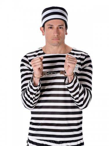 Gefangenen Kostüm gestreift schwarz-weiß Herren-1