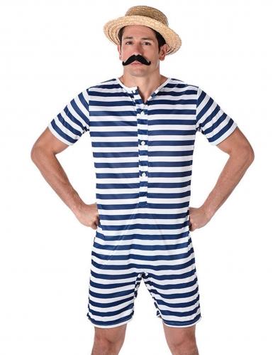 Badeanzug retro blau und weiß für Herren-1