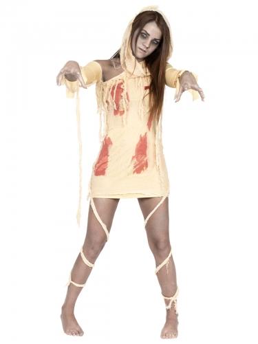 Blutige Mumie Damen-Kostüm beige-rot