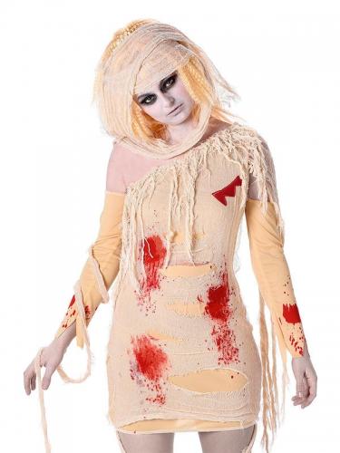 Blutige Mumie Damen-Kostüm beige-rot-1