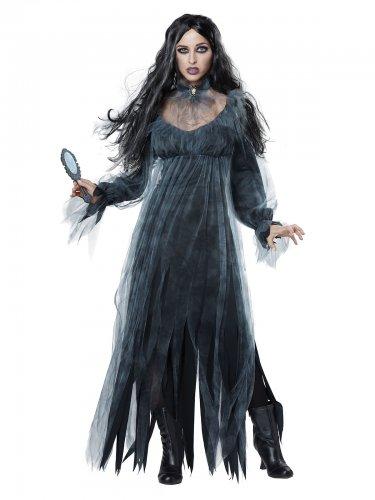 Geisterfrau-Kostüm für Damen Bloody Mary Halloween-Verkleidung grau-schwarz