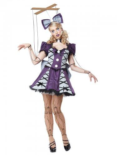 Halloween Marionetten-Kostüm für Damen - Lila/Grau