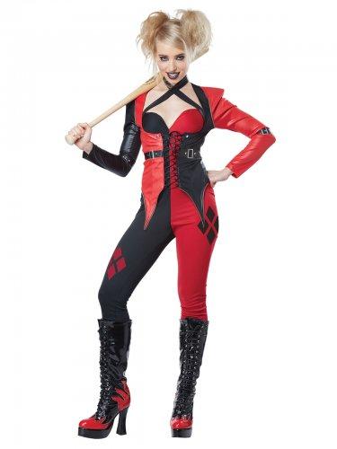 Harlekin-Damenkostüm psycho-Verkleidung Clown rot-schwarz