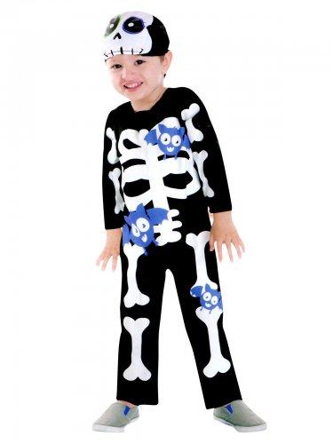 Kostüm als Skelett mit lila Fledermäusen für Kinder zu Halloween