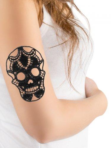 Halloween-Tattoo - Totenkopf aus Spitze - Schwarz