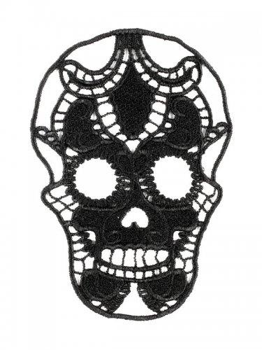 Halloween-Tattoo - Totenkopf aus Spitze - Schwarz-1
