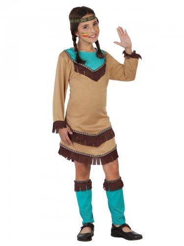 Squaw du Far West Kostüm in Blau und Beige für Mädchen