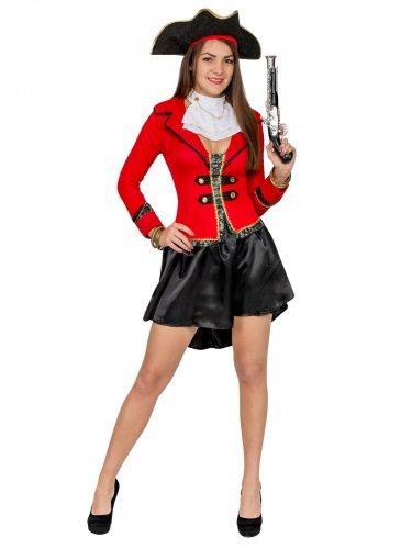 Sexy Piratinen Damenkostüm rot-schwarz