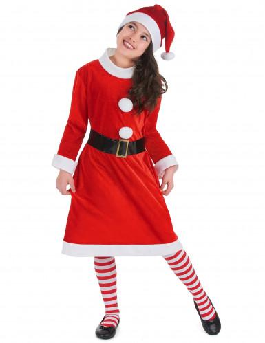 süßes Weihnachtsfrau-Kostüm für Mädchen mit Bommeln