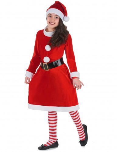 süßes Weihnachtsfrau-Kostüm für Mädchen mit Bommeln-1