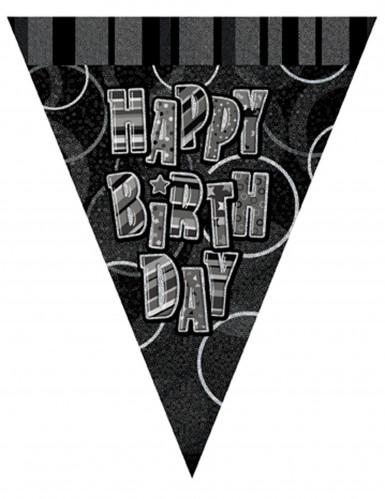 Girlande mit schwarzen Wimpeln Happy Birthday 2,74m