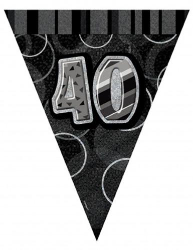 graue Wimpelgirlande 40 Jahre 2,74 m