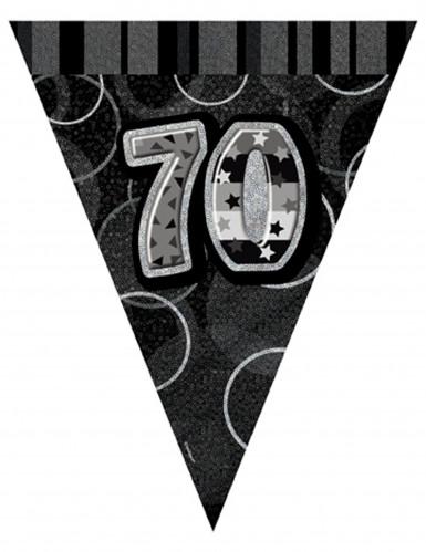 graue Wimpelgirlande 70 Jahre, 2,74 m