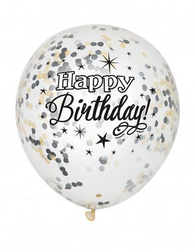 6 Luftballons mit Konfetti Happy Birthday!