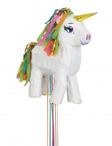 Piñata Einhorn weiß-regenbogenfarben 43 cm