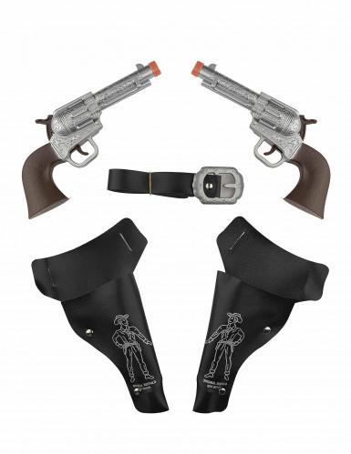 Pistolen Wilder Westen Spielzeug für Kinder 2-Stück braun-schwarz-silber