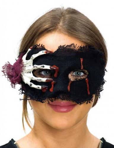 Entzückende Skelett-Maske blutig Halloween-Accessoire schwarz