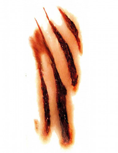 Werwolf-Tattoo Kratzspuren Halloween hautfarben-rot